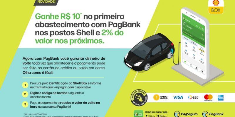 PagSeguro PagBank oferece cashback em abastecimento nos postos Shell